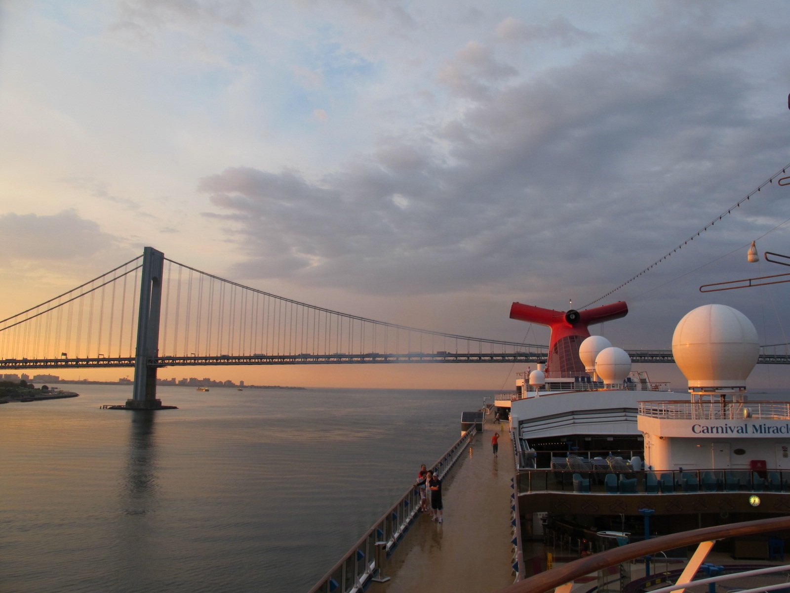 Sailing Into Manhattan on The Carnival Miracle:  Approaching The Verrazano-Narrows Bridge At Sunrise