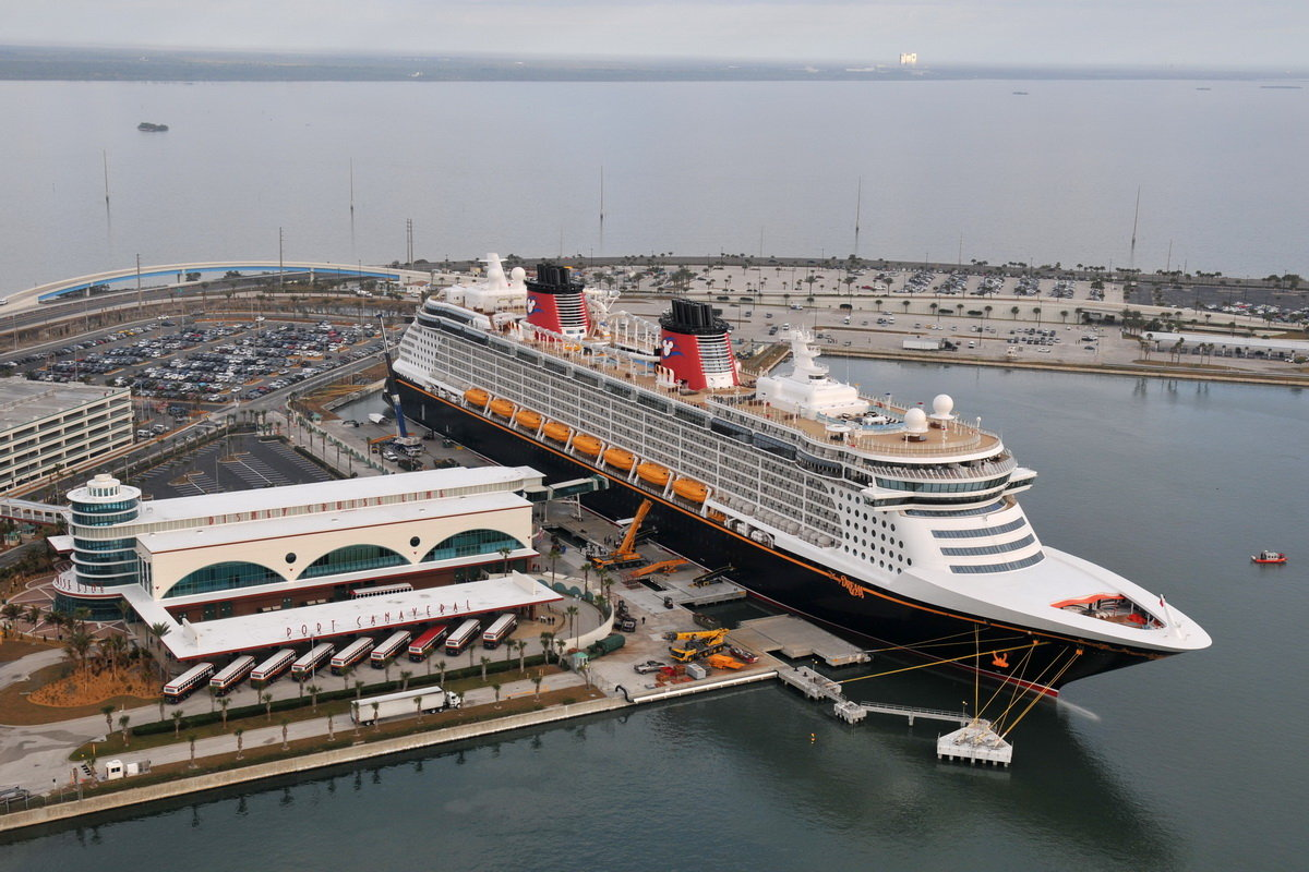 The Disney Dream, Disney Cruise Line's newest ship, arrives Jan. 4. 2011 for the first time to her home port of Port Canaveral, Fla.